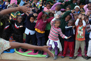 Clowns without Borders teams up with the Na'libali Reading-for-Enjoyment Initiative to bring the power and pleasure of reading and stories to life at the new'Ä® Harare library in Khayelitsha. Na'libali supplement is published in the Times every Wednesday. 14.06.2012. Picture: SHELLEY CHRISTIANS